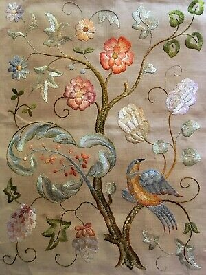 Stunning Vintage Hand Embroidered Picture Panel Jacobean Tree Of Life Hoho Bird