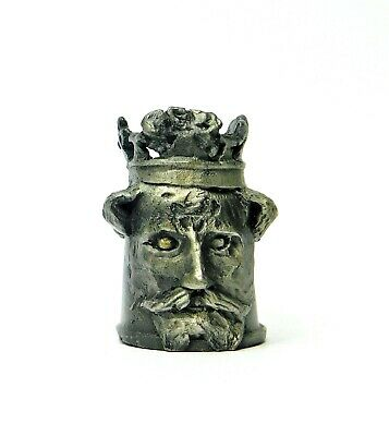 Hi-Relief Character Head Of King Arthur Heavy Pewter Thimble