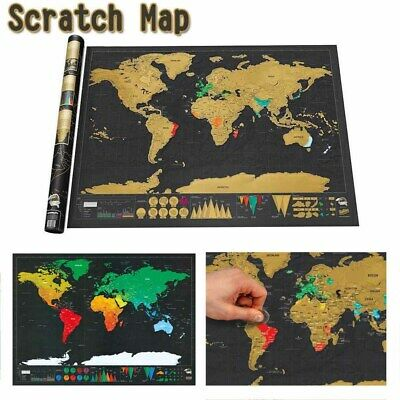 Scratch Off World Map Deluxe Edition Travel Log Journal Poster Wall Decor Nomal