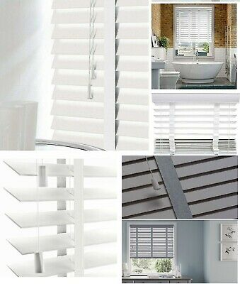 Faux Wood Window Venetian Blinds Blind With Tape 50mm Slats White Grey TRIMMABLE
