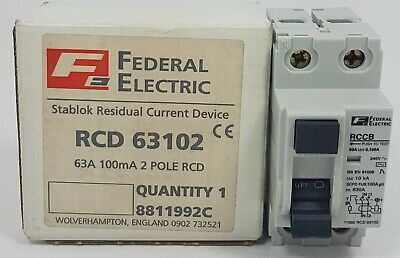 Federal Electric Stablok 63A 63 Amp Double Pole DP 2P RCD 63102