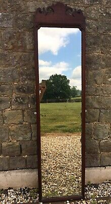 Antique 19th Century Mahogany Floor Standing Tall Long Mirror.