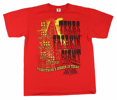 Six Flags Freakin Texas Giant Adult Large T Shirt Roller Coaster Ride Theme Park