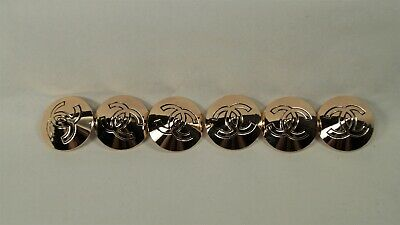 Set of 6 Authentic CHANEL Gold/Copper Cone Shape CC 28mm Shank Buttons
