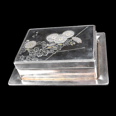 A Japanese Silver, Mixed Metals and Nashiji Lacquered Table Box and Tray.