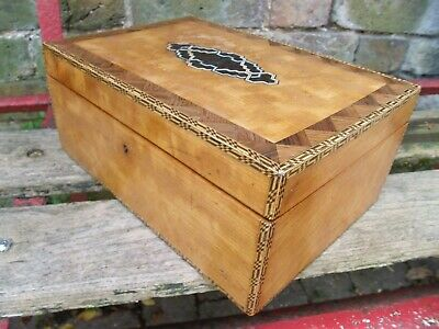 Victorian Mixed Wood Work-Box Inlaid Design To Hinged Lid