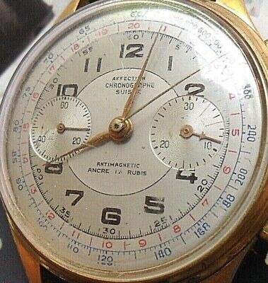 HTF Vintage 1940's Men's Affection 17 Ruby 2 Register Swiss Chronograph Watch