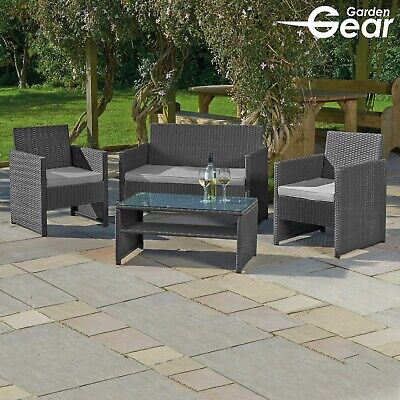 Garden Gear Rattan Furniture 4pc Outdoor Patio Conservatory Sofa Chairs & Table