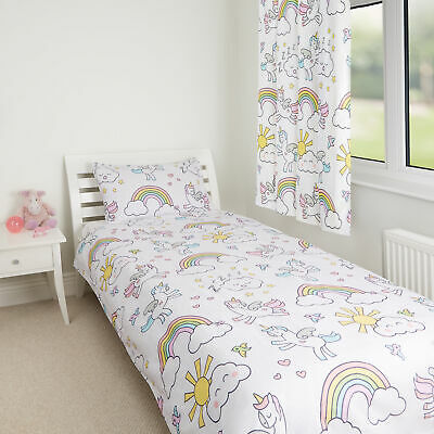 Unicorn Kids Girls Boys Curtains Single Toddler Pillowcase Duvet Bedding Set