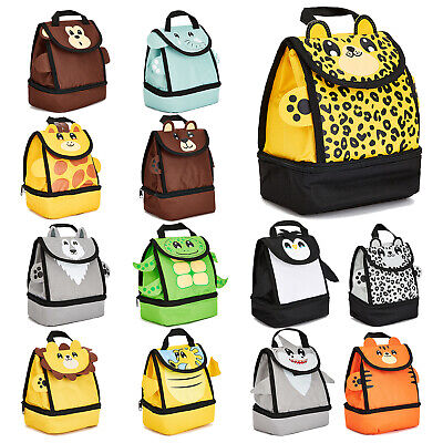 Zappi Co Childrens Girls Boys School Insulated Animal Lunch Box Bag - Various