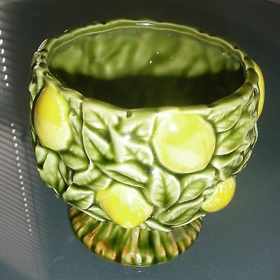 RELPO LEMONS YELLOW GREEN LEAVES CERAMIC PLANTER POT or SUGAR BOWL  VASE 6129