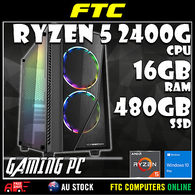AMD Ryzen 5 2400G 3.9GHz | 16GB RAM | 480GB SSD | Win 10 Pro | Gaming PC Desktop