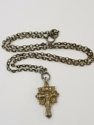 RRR Rare old Greek Russian double-sided cross with a chain 18-19 century