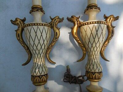 Pair Vintage Gold Gilt Baroque Italian French Carved Wood Lamps