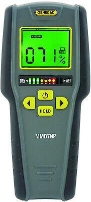General Tools MMD7NP Moisture Meter, Pinless, Digital LCD With Tricolor Bar