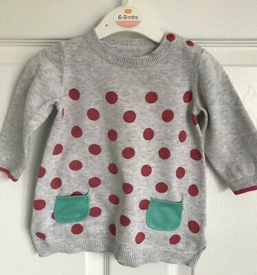 Baby Girls Grey Spotted Mothercare Long Sleeved Dress - Age 3-6 Months