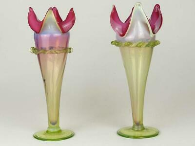Pair of Antique Victorian Cranberry & Green Fluted Vases