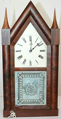 Antique Rare A.s. Platt & Co. Double Fusee Gothic Steeple Clock W/ Beehive Glass