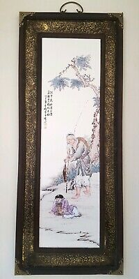 Oriental wall plaque Chinese wall hanging Chinese painted ceramic tile