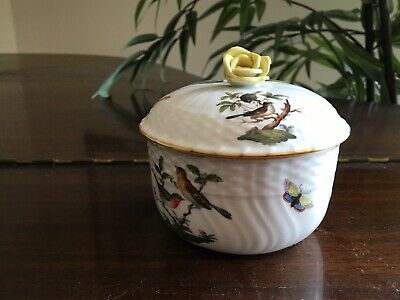 Herend Porcelain China Rothschild Bird Sugar Bowl with Lid