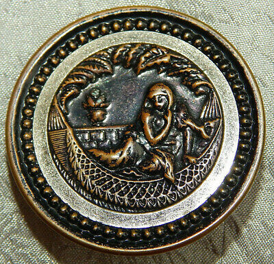Antique Vintage Brass & White Metal Trim Picture Button Queen of Sheba #231-A