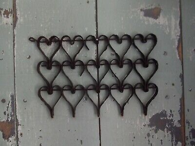 Early Antique Iron Heart Mat Fragment 15 Hearts Folky AAFA Primitive