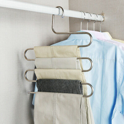 5 Layers  Pants Hangers Trousers S Type Layer Holder Scarf Tie Towel Rack Multi
