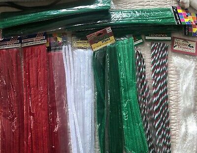 "12"" Pipe Cleaners Craft Chenille Stems Red Green Christmas Lot USA seller"