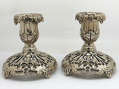 2 ~ Federal Silver Co. Burgundy Silverplate Candle Holders