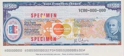 """France: 1984 Thos Cook & Mastercard 500 Franc """"SPECIMEN"""" EURO TRAVELLERS CHEQUE"""