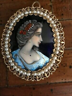FRENCH LIMOGE CAMEO BROOCH Pendant PORCELAIN 14k GOLD HAND PAINTED VINTAGE Pearl
