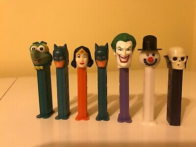 PEZ Dispensers Mixed Misc. Lot Of Seven: Batman Pez, Wonder Woman Pez, Gonzo Pez