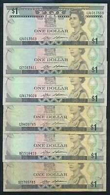 "Fiji: 1983 $1 QEII Sig Barnes-Siwatibau ""SCARCE SET OF 6 PREFIXES"". P81a F to EF"