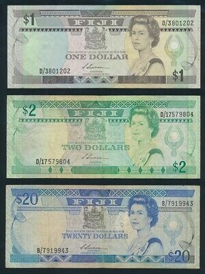 "Fiji: 1987-88 $1 to $20 QEII Sig Siwatibau ""COMPLETE SET OF 3"". Pick 86a-88a"