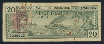 "New Hebrides: WWII 1945 20 Francs RARE ""FRANCE LIBRE"" OVPT. Pick 7 Fine Cat $167"