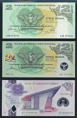 "Papua New Guinea: 1992-2009 2 & 5 Kina ""SET OF 3"". P12A-29b AUNC+, Cat UNC $31+"