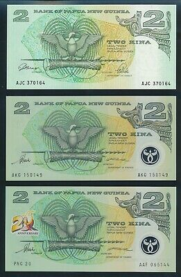 "Papua New Guinea: 1992-96 2 Kina""SET OF 3 DIFFERENT"". Pick 12A, 15 & 16a AUNC+"