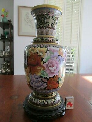 Vintage Chinese Cloisonne Large Vase Floral Decoration 1960s?