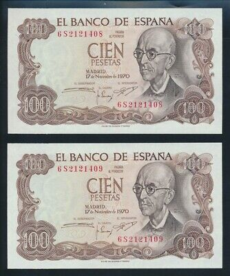 "Spain: 17-11-1970 (1974) 100 Pesetas ""CONSECUTIVE PAIR"". Pick 152a UNC Cat $40+"