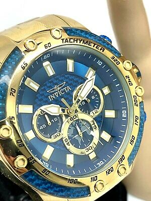 Invicta Speedway Men's Watch Blue Dial Chronograph 50mm Gold Tone S.Steel 28659