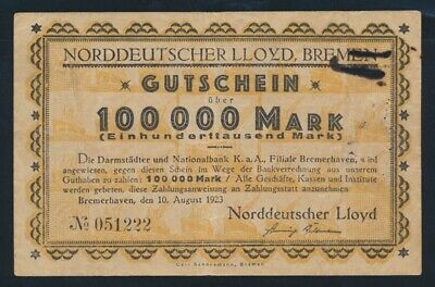 Germany: Weimar Republic NORDDEUTSCHER LLOYD 10-8-1923 100,000 Mark. SCARCE!