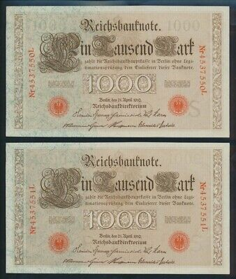 "Germany: Empire 1910 (1916) 1000 Mark ""CONSECUTIVE PAIR"". Pick 44b UNC Cat $53*"