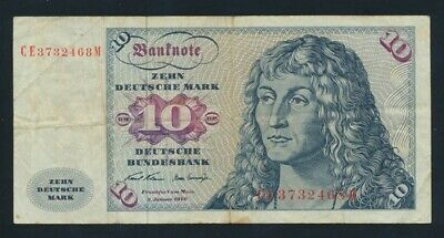 Germany: Federal Republic 2-1-1970 10 Mark. Pick 31a GF - Cat VF $20