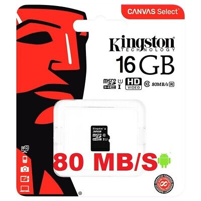 Tarjeta Memoria Kingston Clase 10 Microsd Micro Sd Gb 16 80Mb/S Hd Video