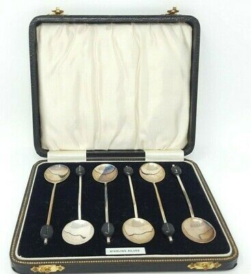 Boxed Set 6 Sterling Silver Coffee Bean Spoons Probably Arthur Price & Co. 1932