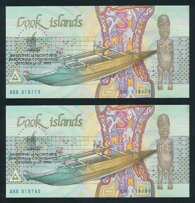 "Cook Islands: 1992 $3 ""PACIFIC ARTS FESTIVAL COMMEMORATIVE"" Pair. P6 UNC Cat $16"