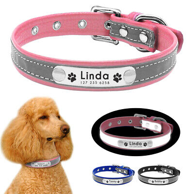 Personalized Reflective Leather Pet Puppy Dog Collars &Nameplate Pink Blue Black