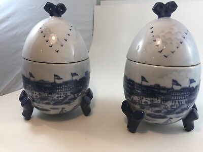 Victorian Era Ceramic Biscuit Cookie Jar Pair Two Vases Hand Painted Antique