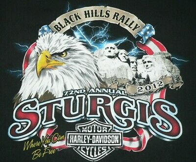 HARLEY DAVIDSON T-SHIRT STURGIS BLACK HILLS RALLY 2012 Sz XL USA MADE