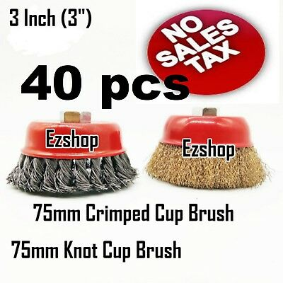 """40 Wire Cup Brush 3"""" (75mm) for 4-1/2"""" (115mm) Angle Grinder Twist Knot Crimped"""